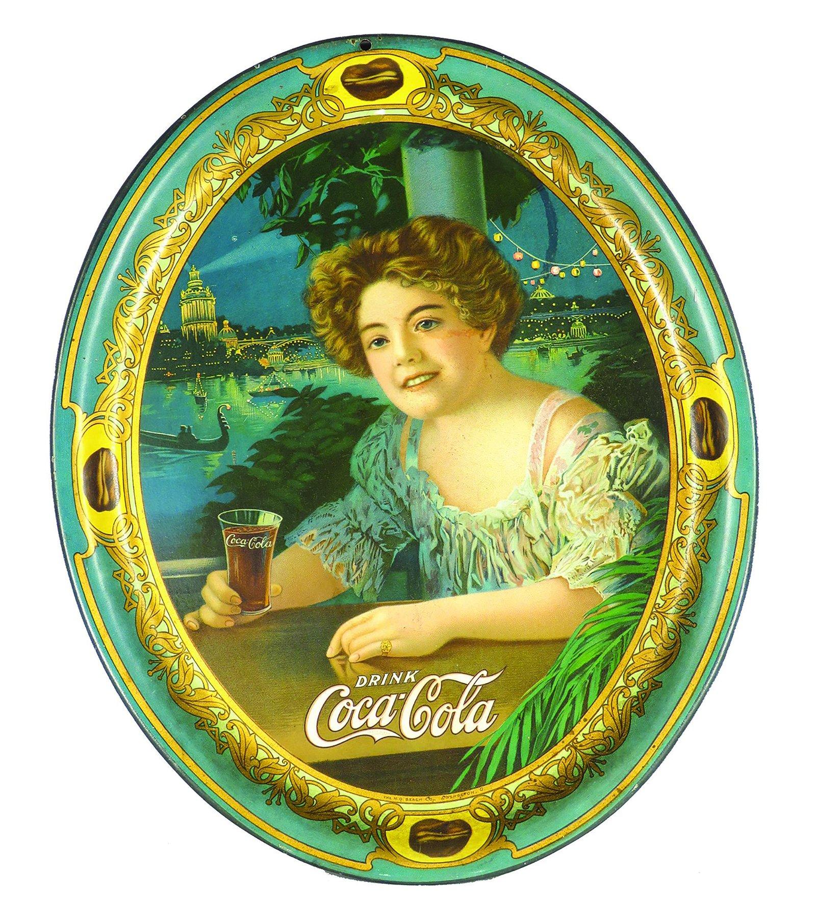 1909 Original Coca Cola Tin Serving Tray
