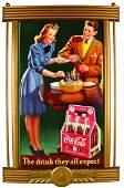 1942 Coca Cola Cardboard Sign, 25 Cent, 6 Pack