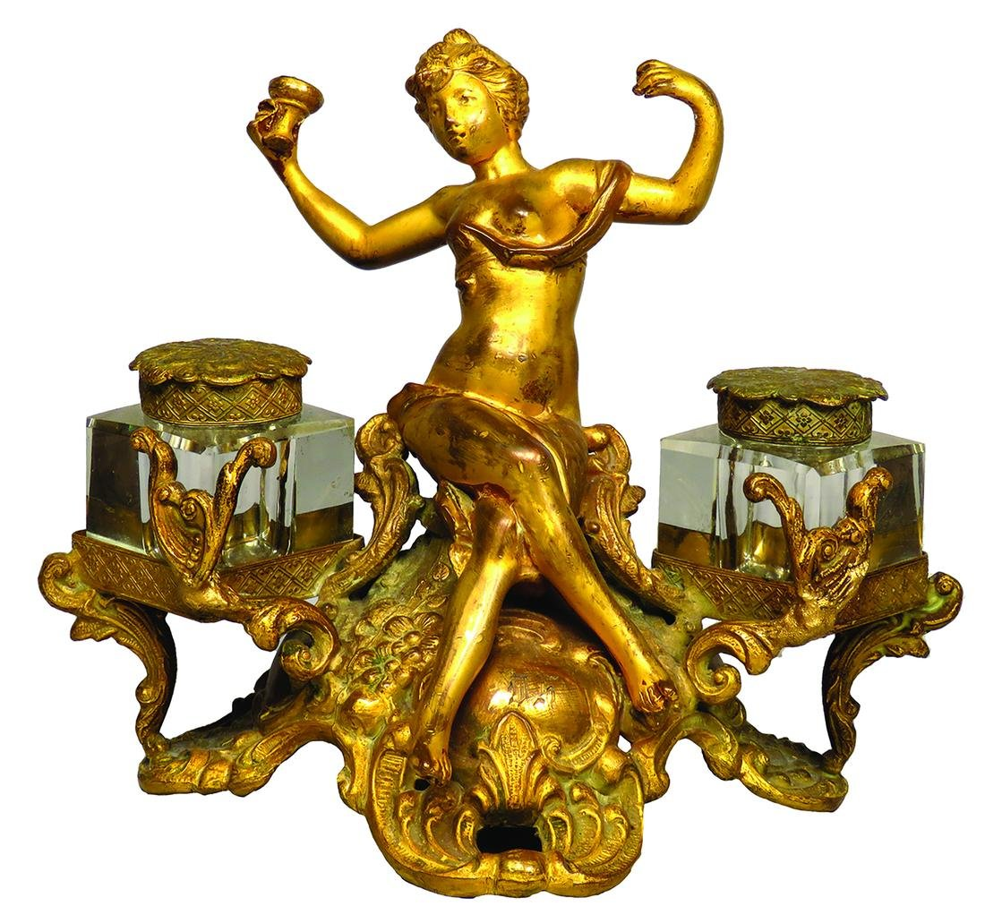 Antique Victorian Figural Inkwell