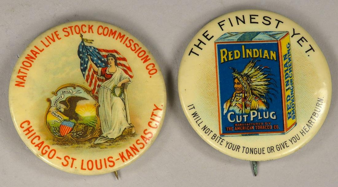 Antique Advertising Celluloid Pin Backs, Paper backs