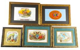 Collection of Five Vintage Cigar Box Labels