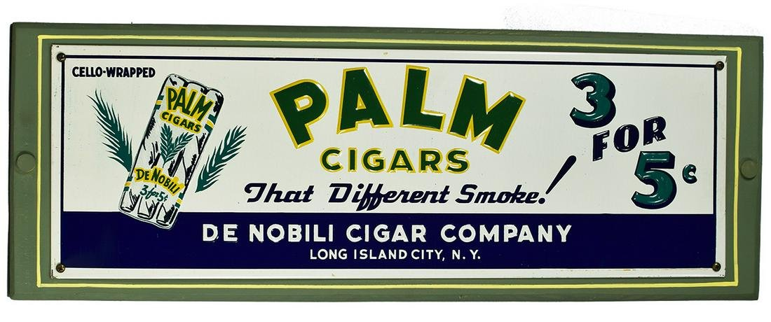 Palm Cigars Embossed Tin Sign