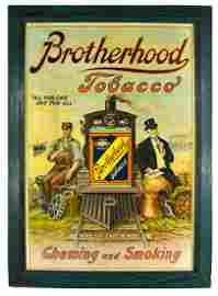 Brotherhood Tobacco Cardboard Advertising Sign