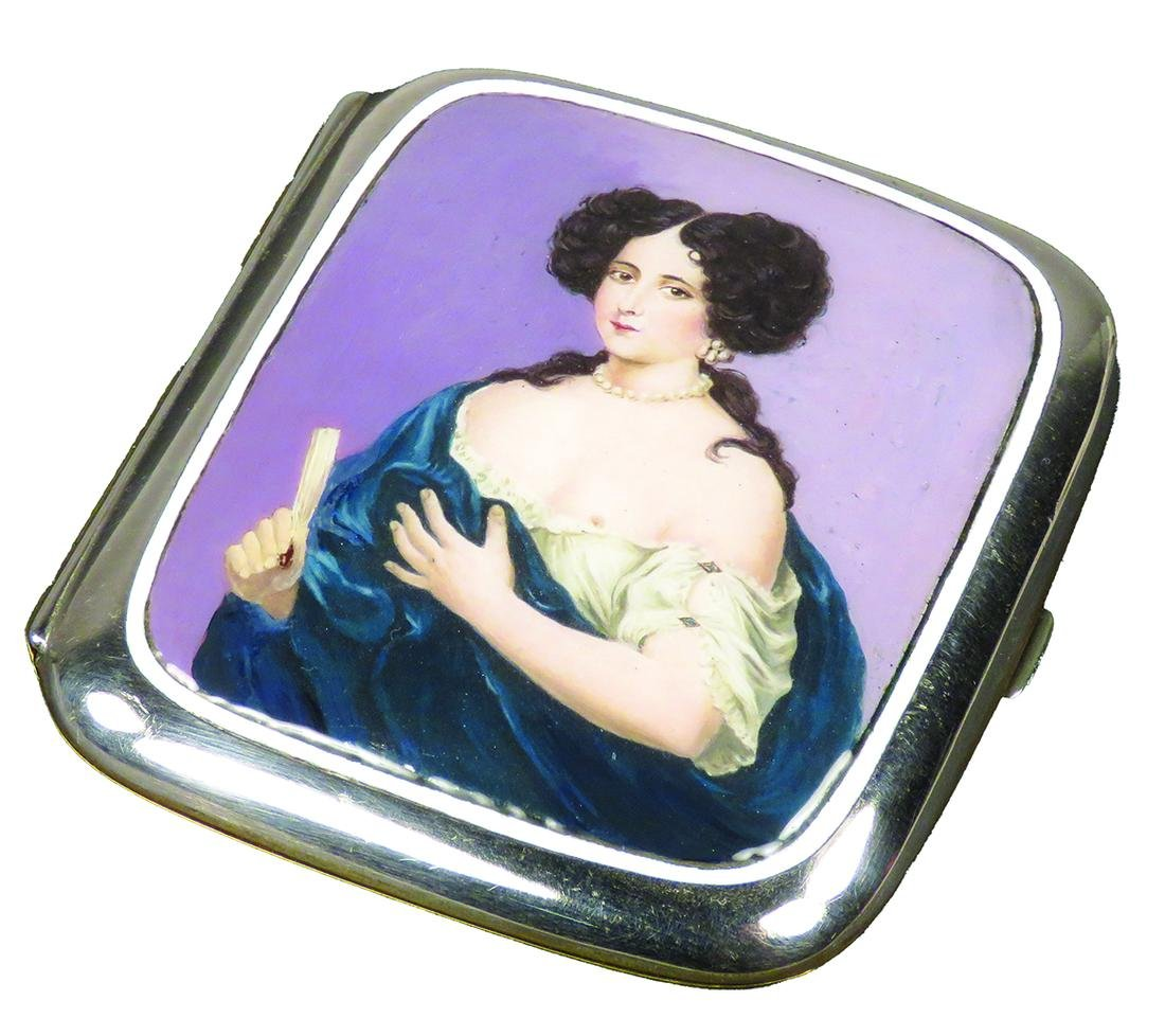 Antique Sterling Silver and Enamel Cigarette Case
