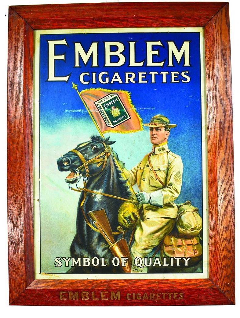 Emblem Cigarettes Cardboard Advertising Sign