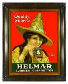 Helmar Turkish Cigarettes Tin Advertising Sign