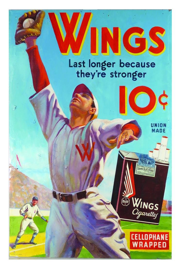 Wings Cigarettes Cardboard Advertising Sign