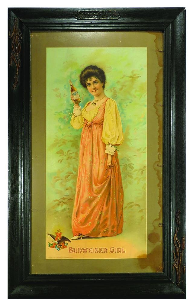 "1904 Budweiser ""Girl"" Cardboard Advertising Sign"