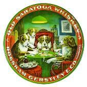 Old Saratoga Whiskey Advertising Tin Serving Tray