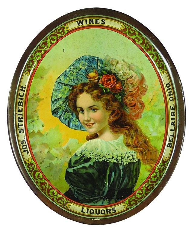 Jos. Streibich Wines Liquors Adv. Tin Serving Tray