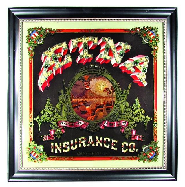 Aetna Insurance Co. Reverse Glass Advertising Sign