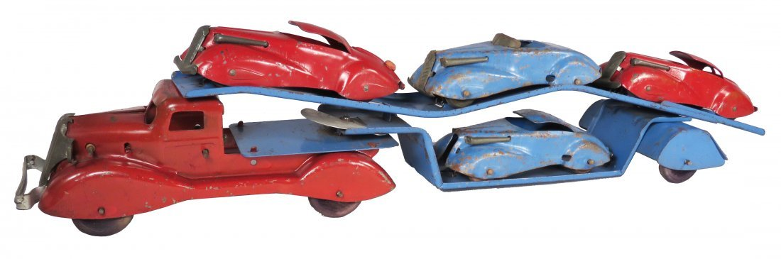 Vintage Pressed Steel Toy Tandem Transport Vehicle