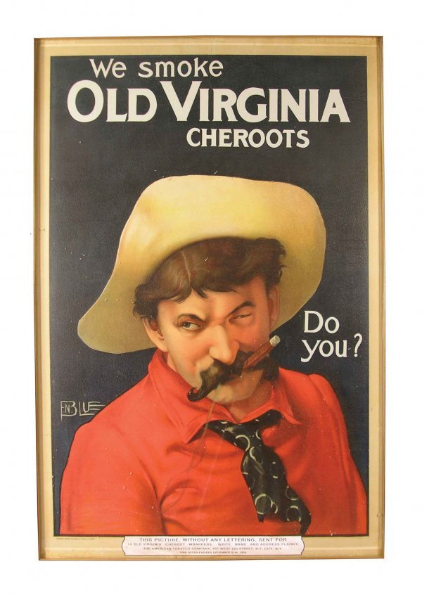 406: Old Virginia Cheroots Paper Advertising Sign