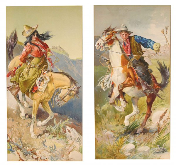 417: Two Early Litho Cowboy and Cowgirl Paper Prints