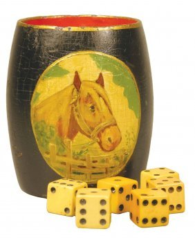 1135: Rare Wood Dice Cup with hand painted horse motif