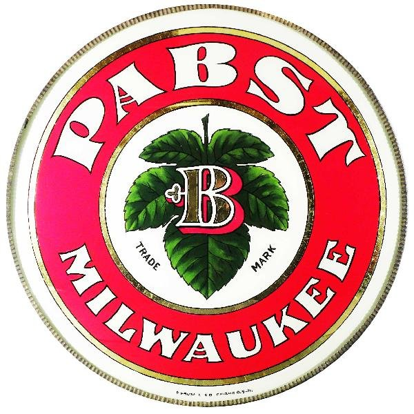 508: Pabst Beer Convex Reverse Glass Sign