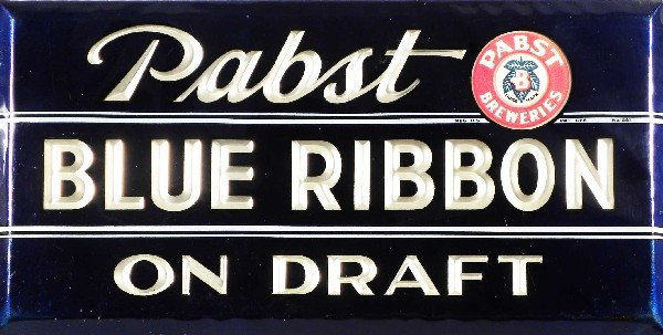 """515: Pabst Blue Ribbon Beer, """"On Draft"""" Sign"""
