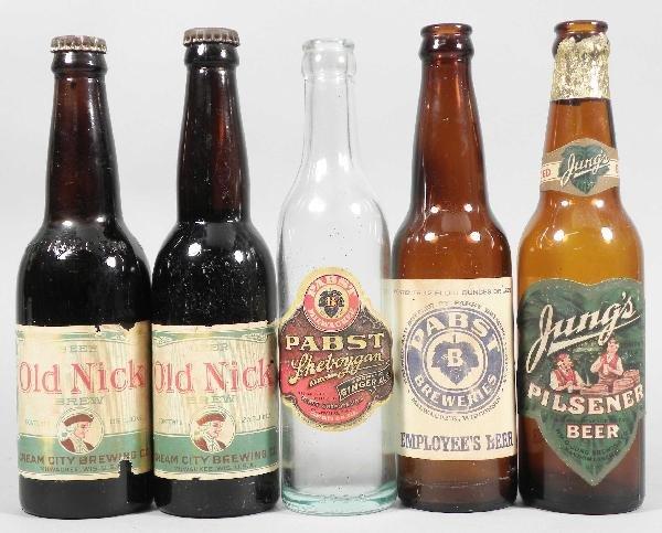 523: Lot of Five Pabst Paper Label Bottle