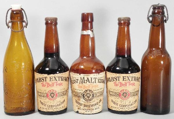 524: Lot of Five Pabst Bottles