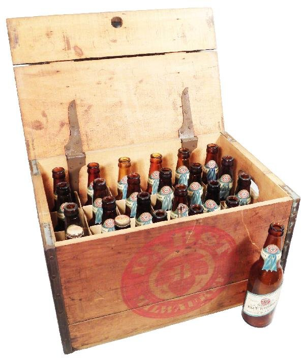 625: Pabst Blue Ribbon Beer Wood Crate/21 bottles