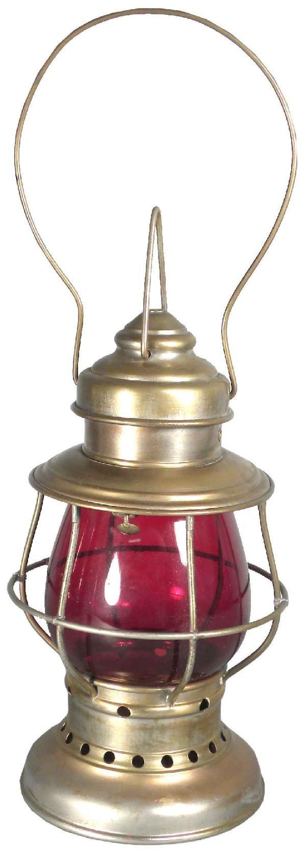 1229: Firemen's Lantern w/Ruby Glass Globe