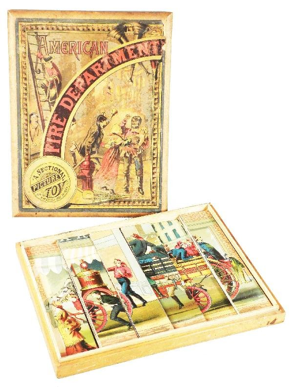 1241: 1882 Milton Bradley Fire Sectional Picture Toy