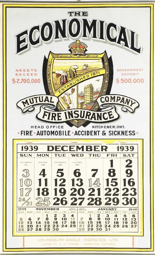 1245: 1939 Economical Fire Insurance Calendar