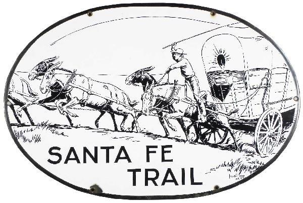 1428 Santa Fe Trail Porcelain Sign