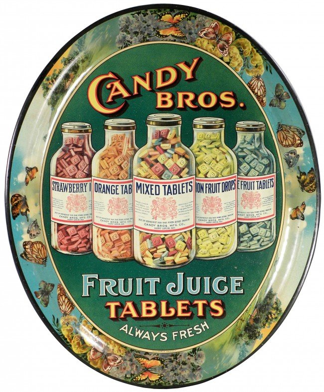 502: Candy Bros. Fruit Juice Tablets Tin Serving Tray
