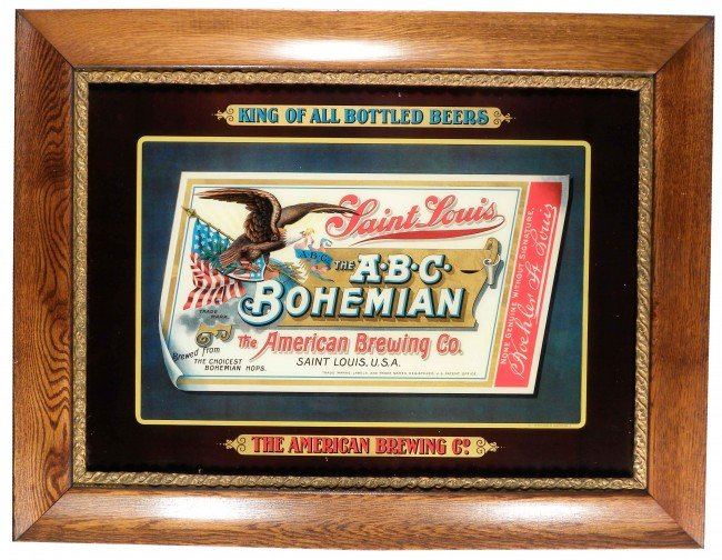 759B: The American Brewing Co. Reverse Glass Sign