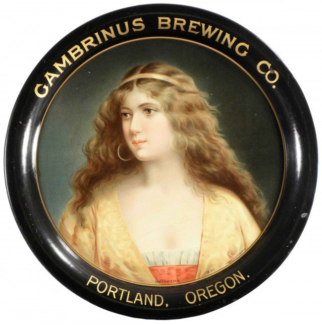 764: Gambrinus Brewing Company Tin Serving Tray