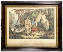 1089 Currier  Ives Print entitled Hiawathas Weddi