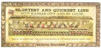 1178: Rare Wabash Western Railway Cardboard Sign