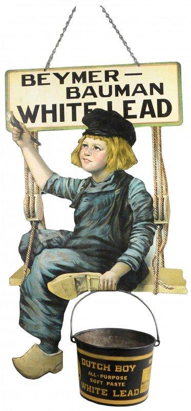 1304: Dutch Boy Paint Die Cut Tin String Holder
