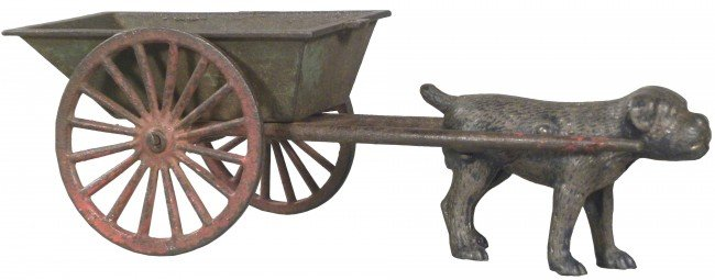 1309: Cast Iron Dog Pulling a Cart toy.