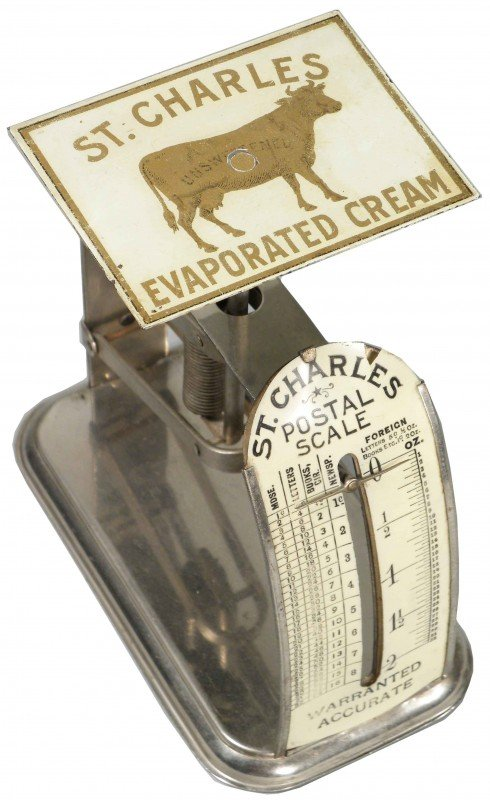 1311: Postal Scale Adv. St. Charles Evaporated Cream