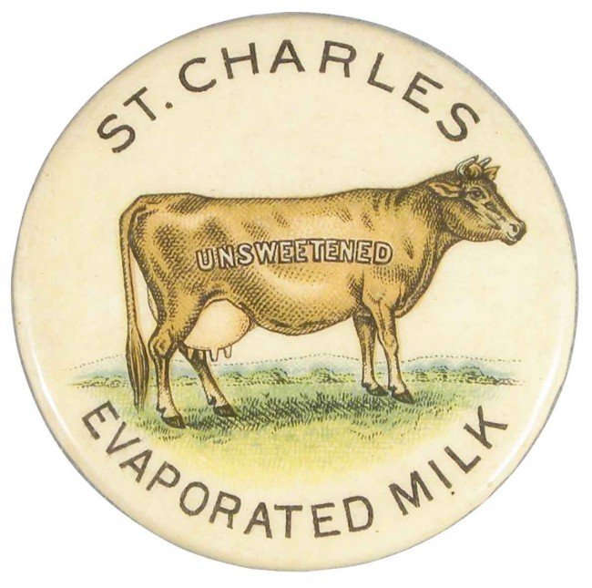 1320: St. Charles Evaporated Milk Celluloid Pin Back