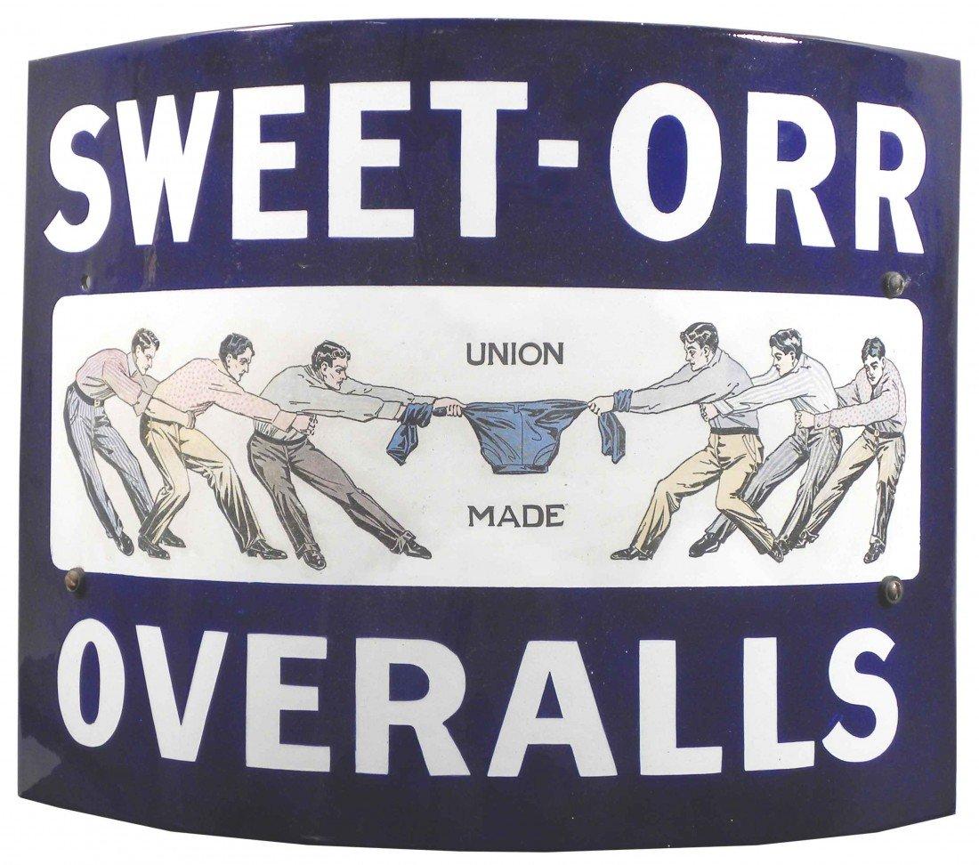 510: Sweet-Orr Overalls Curved Corner Porcelain Sign