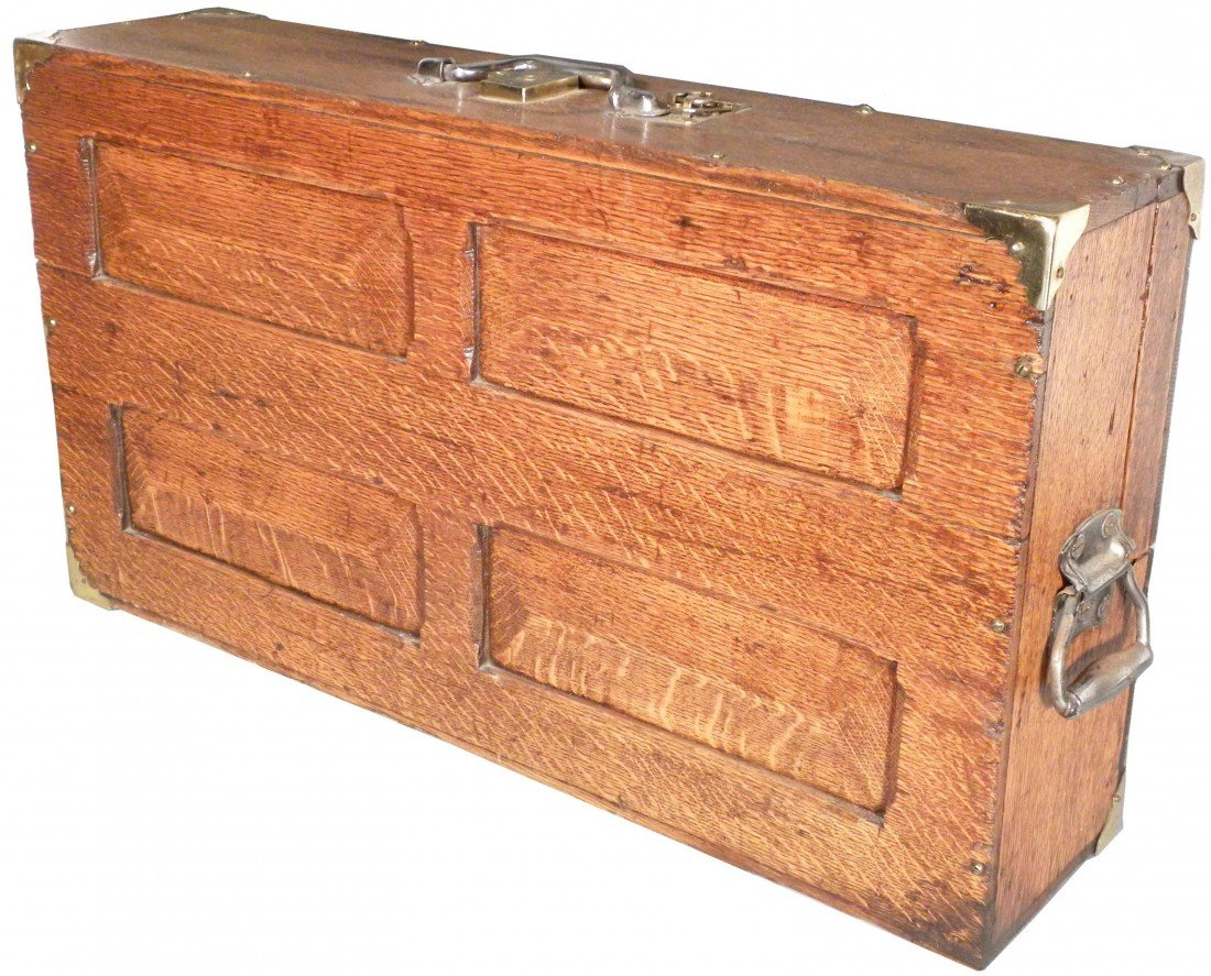 511: Early Quarter Sawn Oak Tool Box