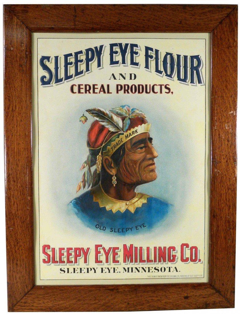 515: Old Sleepy Eye Tin Sign in Original Frame