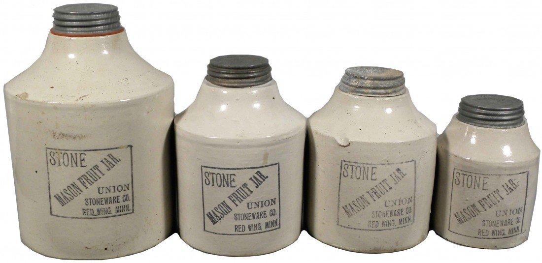 519: Four Red Wing Stone Union Mason Fruit Jars