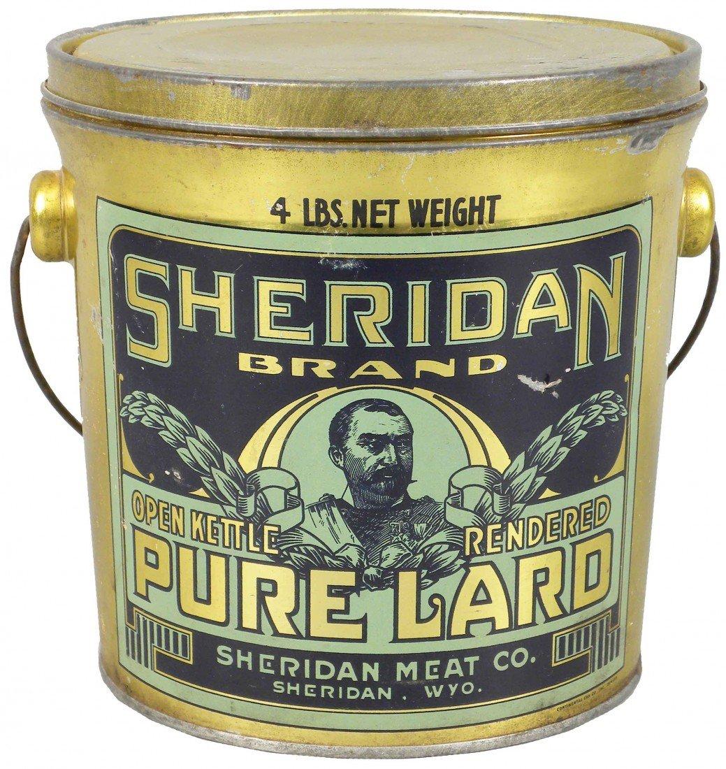 524: Sheridan Brand Pure Lard Tin Pail