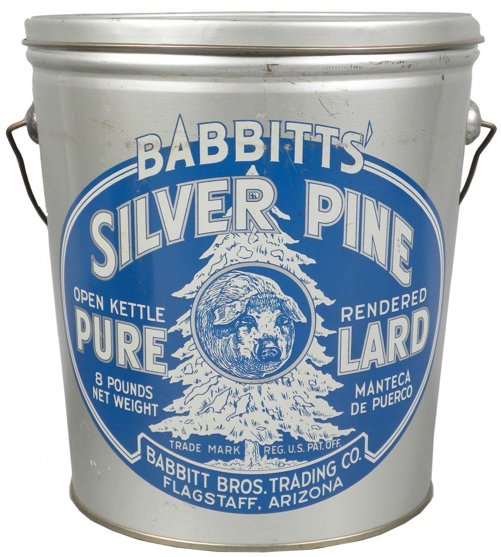 527: Babbitts' Silver Pine Pure Lard Tin Pail