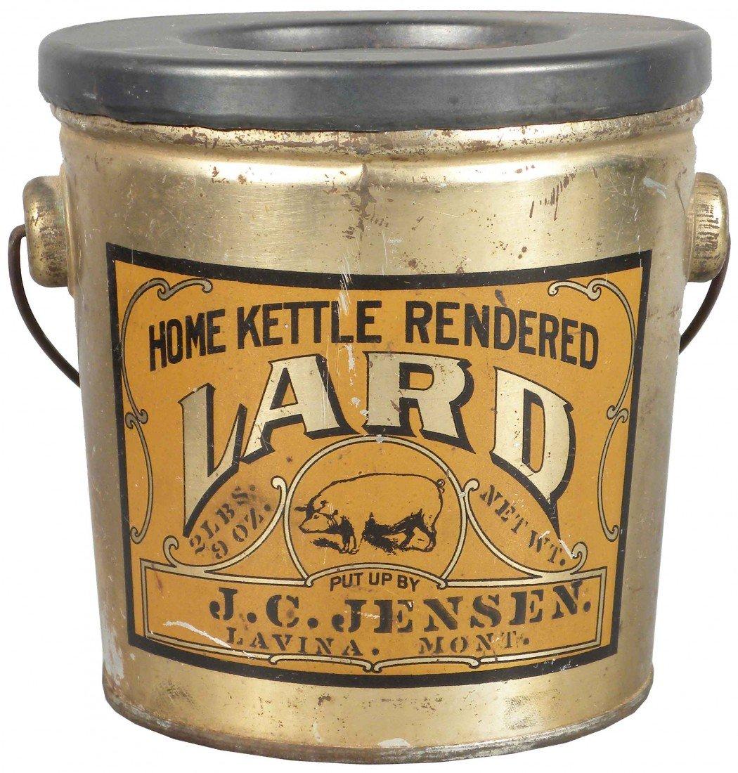 532: Home Kettle Rendered Lard Tin Pail