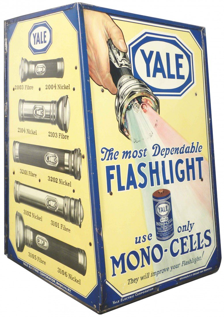 537: Yale Flashlight Tin Store Display Cabinet