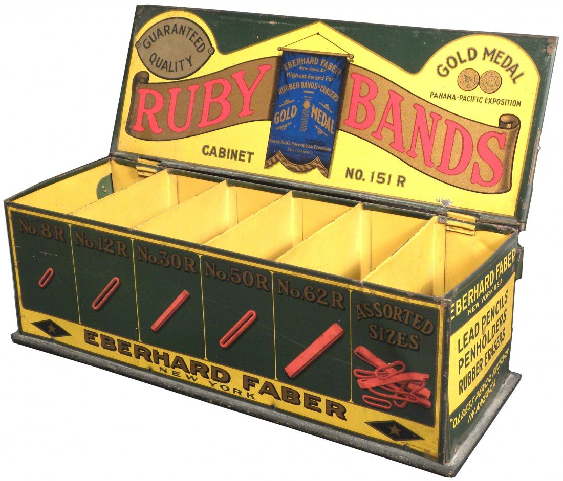 538: Eberhard Faber Rubber Band Tin Store Display