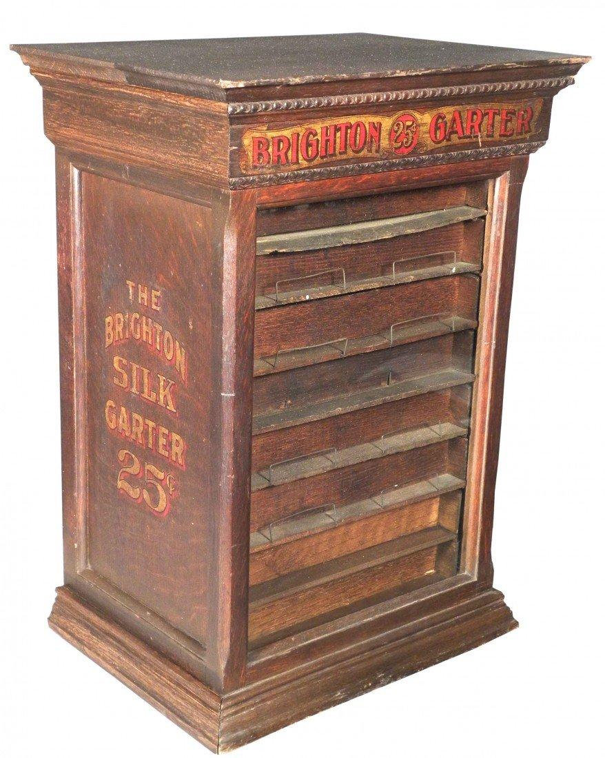 543: Brighton Silk Garter Oak Store Display Case