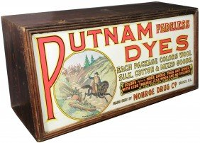 Putnam Dyes Tin Litho Front Store Display Case