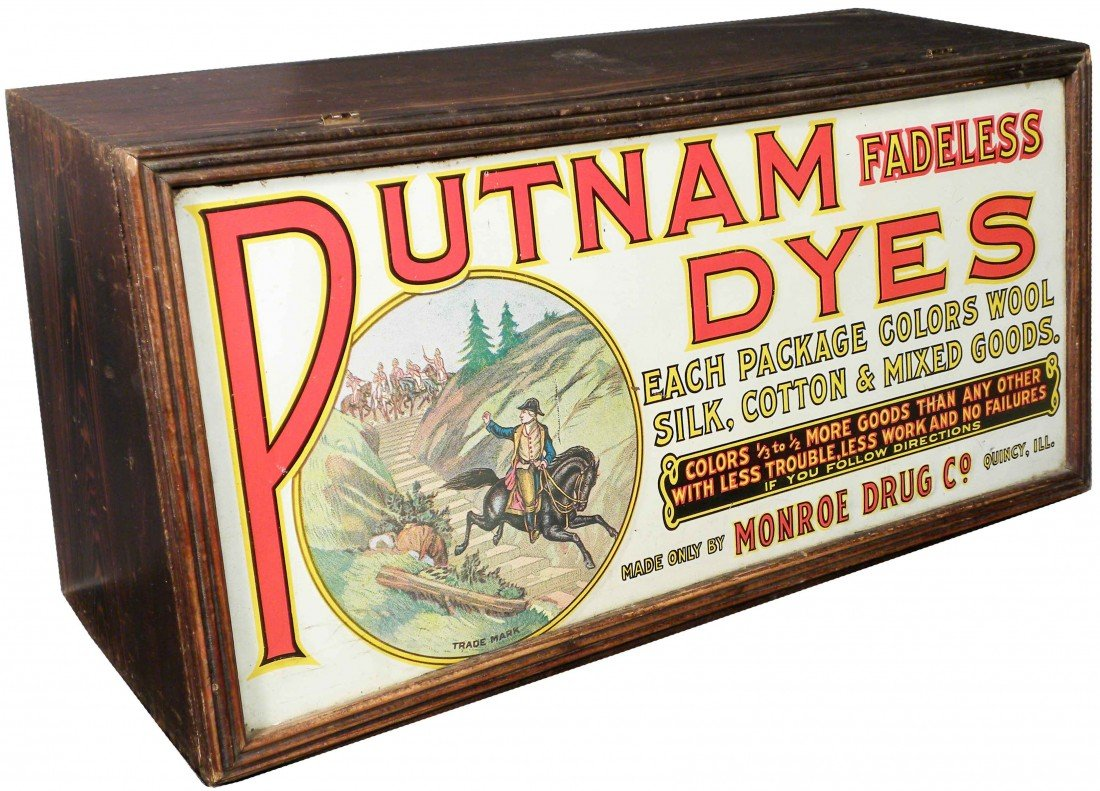 550: Putnam Dyes Tin Litho Front Store Display Case