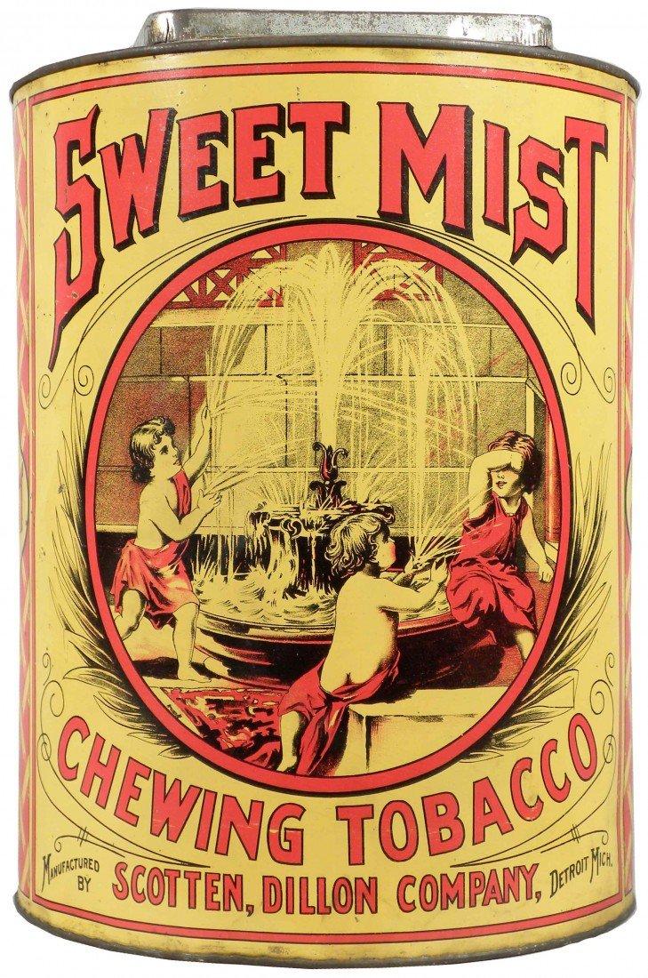 840: Sweet Mist Chewing Tobacco Tin Store Bin